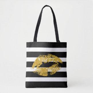 Labios del brillo del oro y rayas blancas negras bolsa de tela