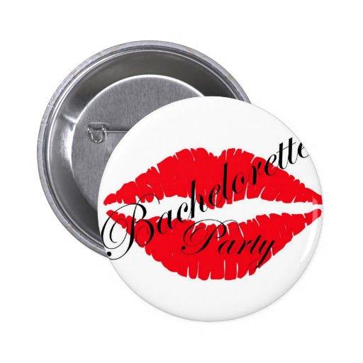 Labios del fiesta de Bachelorette rojos Pin Redondo 5 Cm