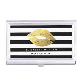 Labios del oro con las rayas blancas negras - caja de tarjetas de visita