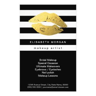 """Labios del oro con las rayas blancas negras - folleto 5.5"""" x 8.5"""""""