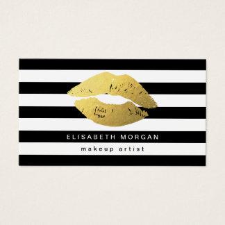 Labios del oro con las rayas blancas negras - tarjetas de visita