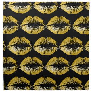 Labios del oro servilleta de papel