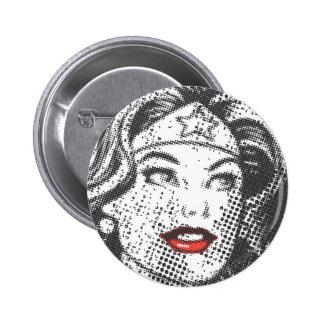 Labios del rojo de la Mujer Maravilla Pin Redondo 5 Cm