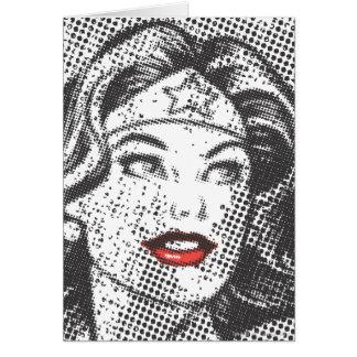 Labios del rojo de la Mujer Maravilla Tarjetón