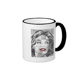Labios del rojo de la Mujer Maravilla Tazas De Café