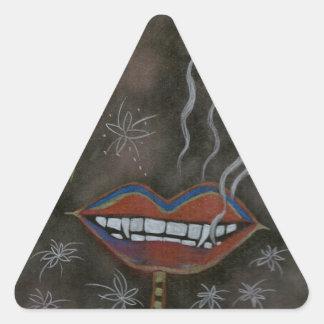 Labios del vampiro pegatina triangular