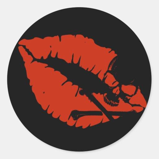 labios del veneno pegatina redonda