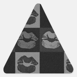 Labios descarados de plata negros pegatina triangular