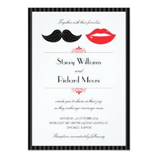 Labios e invitación v.2 del boda del bigote