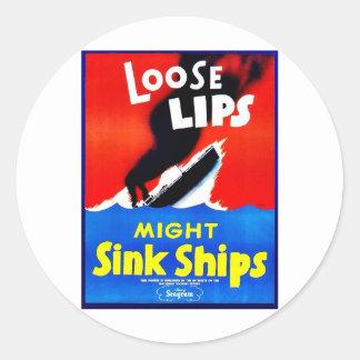 Labios flojos, naves del fregadero de la fuerza pegatina redonda