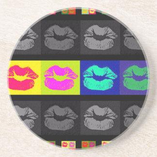 Labios fluorescentes de Black&White Posavasos Personalizados
