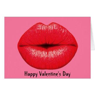 Labios grandes del arte pop del lápiz labial rojo tarjeta de felicitación