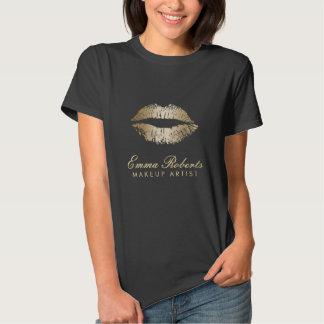 Labios modernos del oro del artista de maquillaje polera