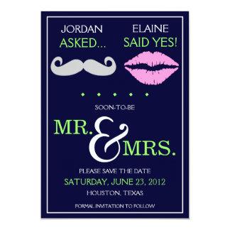 Labios modernos Sr. y señora Save del bigote la Invitación 12,7 X 17,8 Cm
