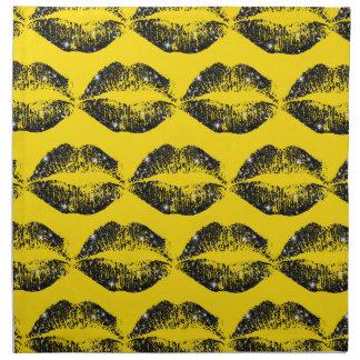 Labios negros #2 del brillo servilletas imprimidas