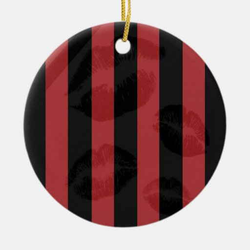 Labios negros rojos adorno redondo de cerámica