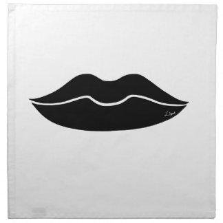 Labios negros servilleta de papel