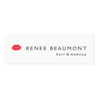 Labios que se besan pelo blanco simple y belleza tarjetas de visita mini