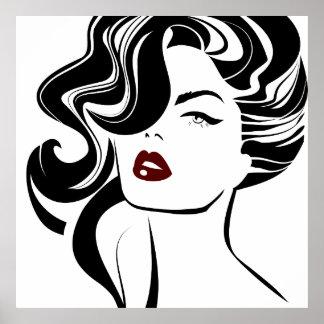 Labios retros del rojo del chica póster