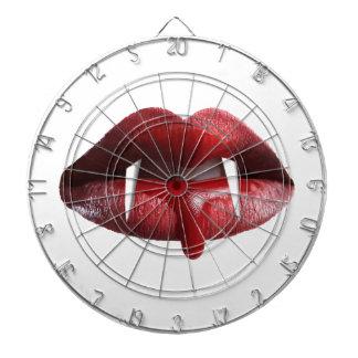 Labios rojos del lápiz labial del vampiro