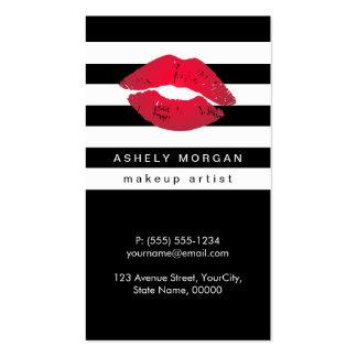 Labios rojos del maquillaje moderno - rayas tarjetas de visita