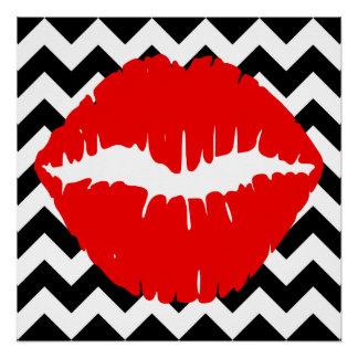 Labios rojos en zigzag blanco y negro perfect poster