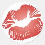 Labios rojos pegatinas redondas