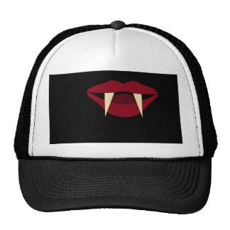 Labios rojos sangre de los colmillos del vampiro gorra