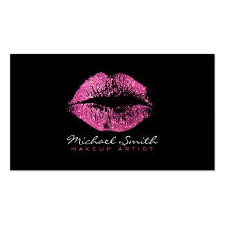 Labios rosados elegantes del brillo del artista de tarjetas de visita