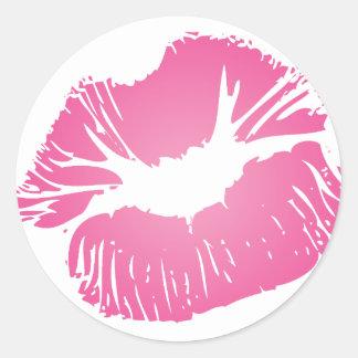 Labios rosados pegatinas redondas