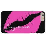Labios rosados personalizados funda de iPhone 6 plus barely there
