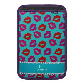 Labios rosados rojos personalizados de la turquesa funda para macbook air