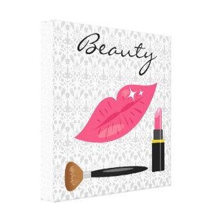 Labios rosados y belleza del maquillaje impresión en lona estirada
