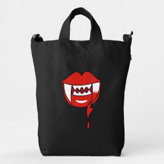 Labios sangrientos del vampiro del corazón en rojo bolsa de lona duck