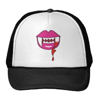 Labios sangrientos del vampiro del corazón en rosa gorras de camionero