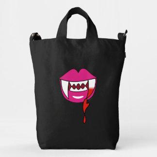Labios sangrientos del vampiro del corazón en rosa bolsa de lona duck