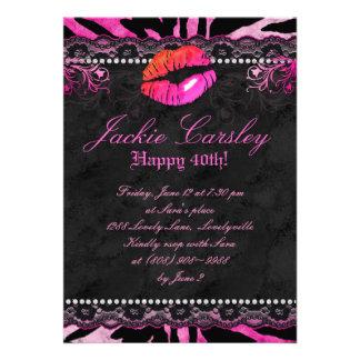 Labios Sd 2 del rosa de la cebra de la fiesta de c Invitacion Personalizada