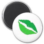 Labios verdes imán para frigorífico