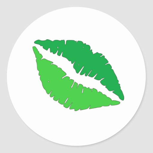Labios verdes pegatinas redondas