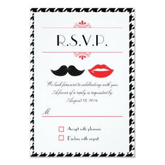 Labios y bigote Houndstooth que casa RSVP Invitación 8,9 X 12,7 Cm