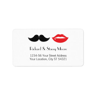 Labios y etiqueta de dirección del boda del bigote