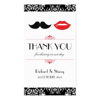 Labios y etiquetas del favor del boda del bigote ( tarjeta de visita