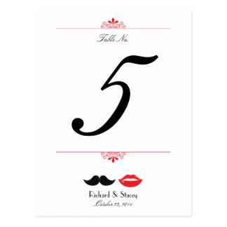 Labios y número de la tabla del boda del damasco d postal