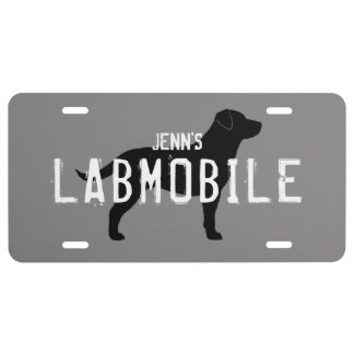 LABMOBILE Labrador Retriever Silhouette Custom License Plate
