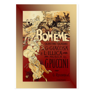 LaBoheme ~ Puccini Opera 1896 w/Background Postcard