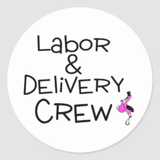 Labor and Delivery Crew Stork Round Sticker