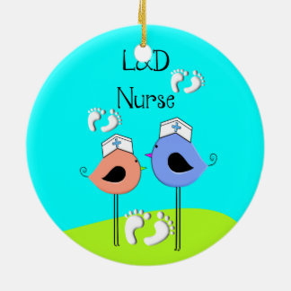 Labor and Delivery Nurse Nurse Birds Double-Sided Ceramic Round Christmas Ornament