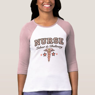 Labor and Delivery Nurse Pink Caduceus Raglan T-Shirt