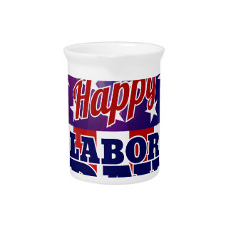 Labor Day American Flag Heart Drink Pitcher
