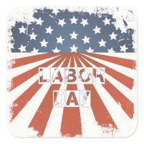 Labor Day American Flag Square Sticker